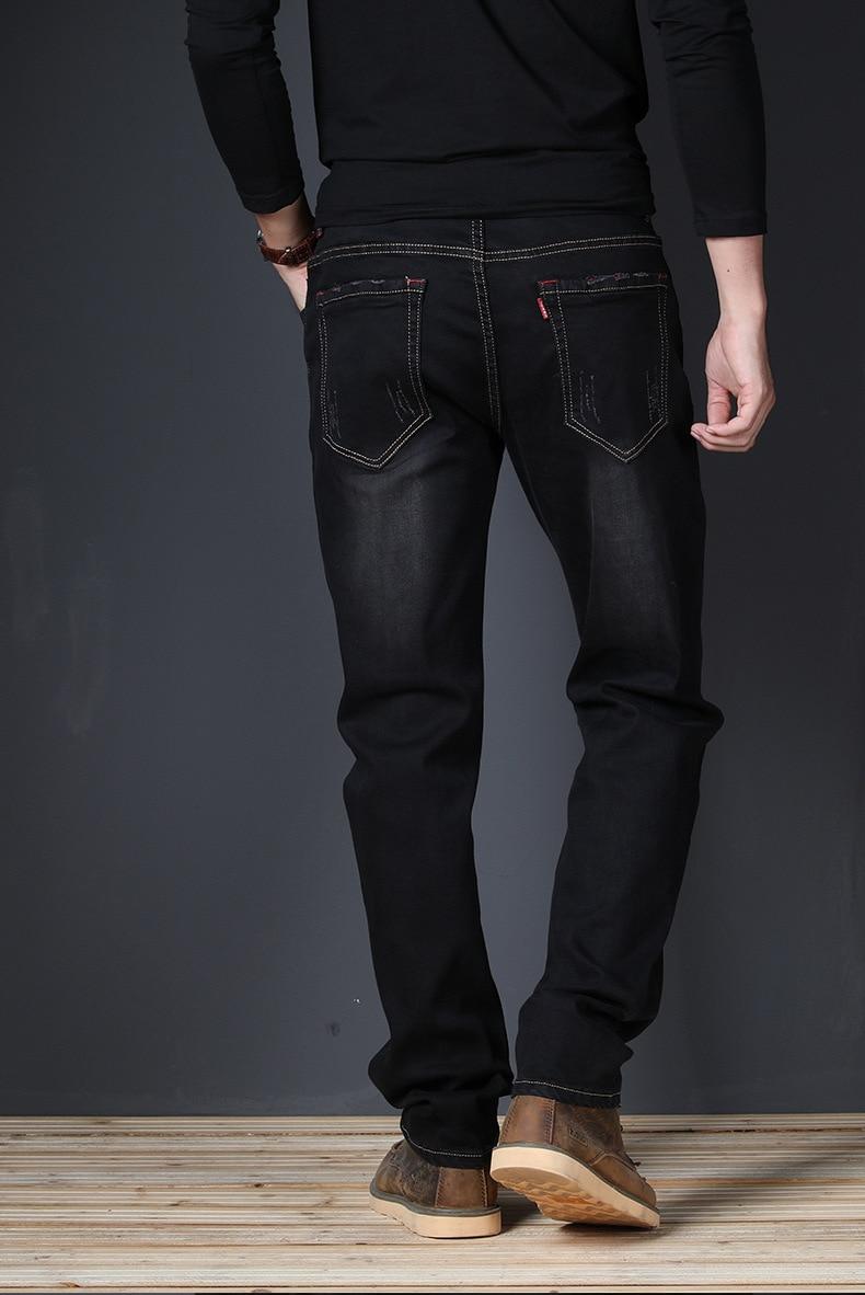 JS675J-2020 Summer Jeans Men's Straight Fit Large Mid Waist Men's Jeans Elastic Simple Business Pants