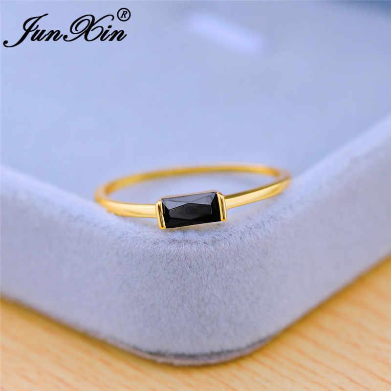 미니멀리스트 얇은 반지 스톤 화이트 골드 옐로우 골드 작은 사각형 지르콘 간단한 결혼 반지 여성 스태킹 반지 Cz