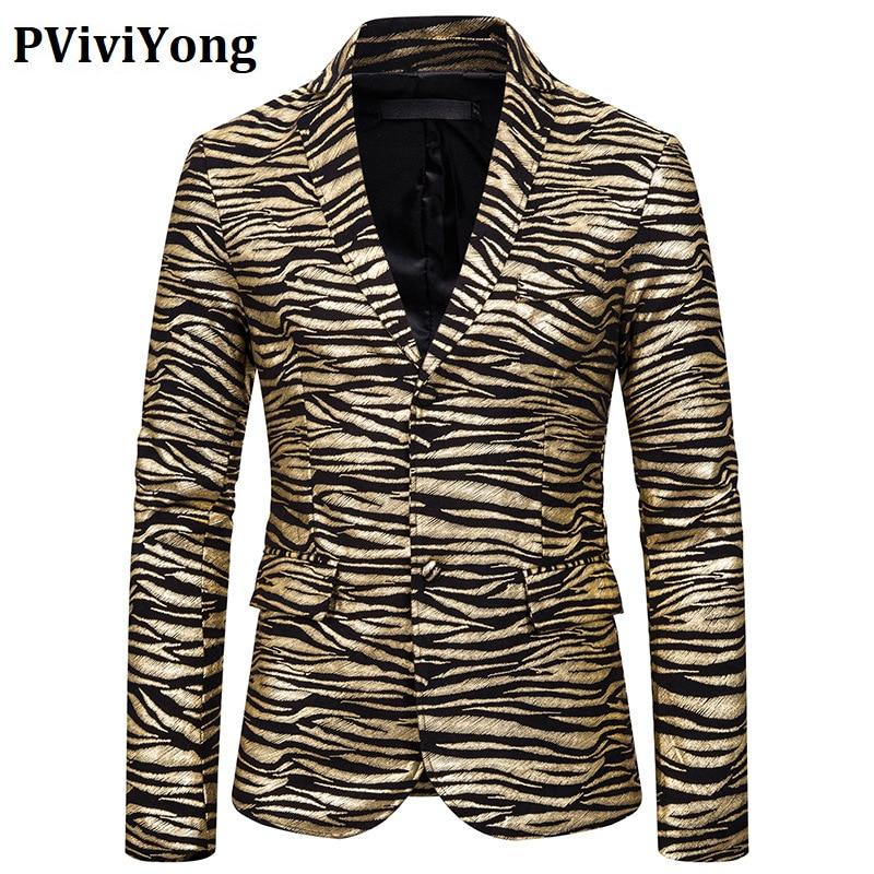PViviYong Luxury Brand 2020 High Quality Suits Blazer Men Slim Fit Tiger Stripes Suit Jacket Men Parka European Size X130