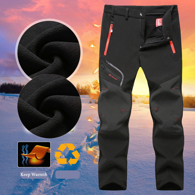 ZOGAA Mens Winter Outdoor Trouser Thick Waterproof Sports Pants Warm Windproof Pants Joggers For Hiking Climbing Plus Size L-6XL