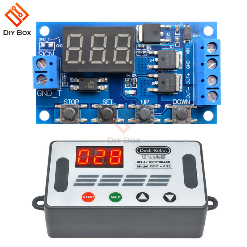 DC <font><b>12V</b></font> 24V Time Delay Relay Switch Module Trigger Cycle <font><b>Circuit</b></font> <font><b>Board</b></font> Dual MOS Tube Control Timer Relay DC Motor <font><b>LED</b></font> Light Micro image
