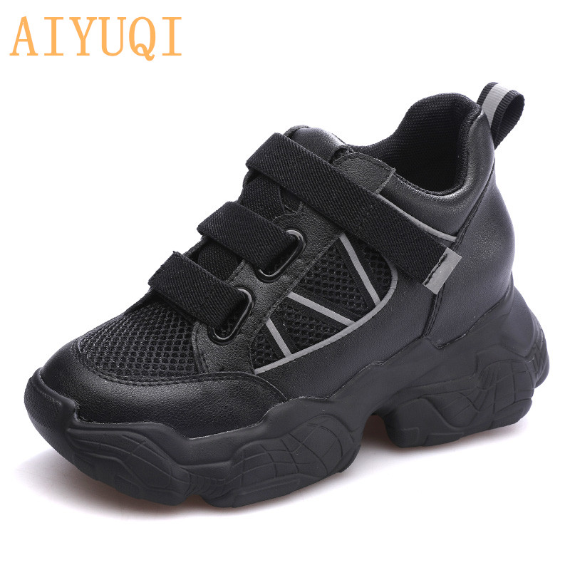 AIYUQI  Women sneakers sandals 2019 new flat women genuine leather white summer hollow fashion shoes