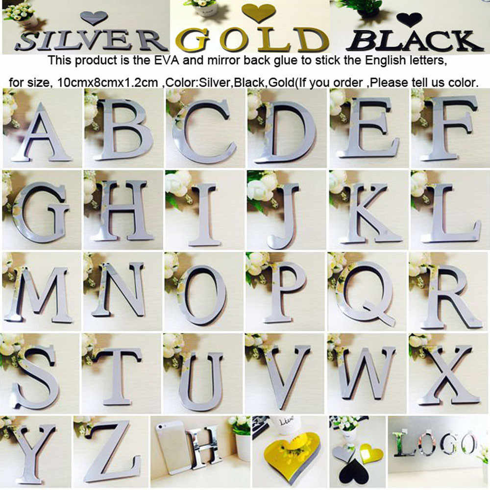 งานแต่งงานLoveตัวอักษรภาษาอังกฤษ 3Dกระจกผนังสติ๊กเกอร์ตกแต่งบ้านโลโก้สำหรับWall Homeอะคริลิคสีแดง/สีดำ/ทอง/เงินF808