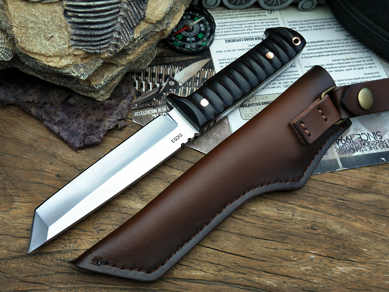 Japanese Knives Series Camping Knife Ebony Hunting Tactical HandleOutdoor DC53 Steel Style Samurai Fixed Blade Knife LCM66 Tool