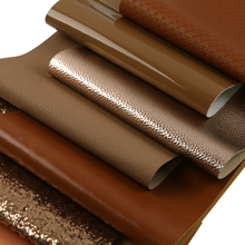 Sheets Faux-Leather Lychee-Pattern Crafts Chunky Glitter Metallic Brown for DIY Handmade