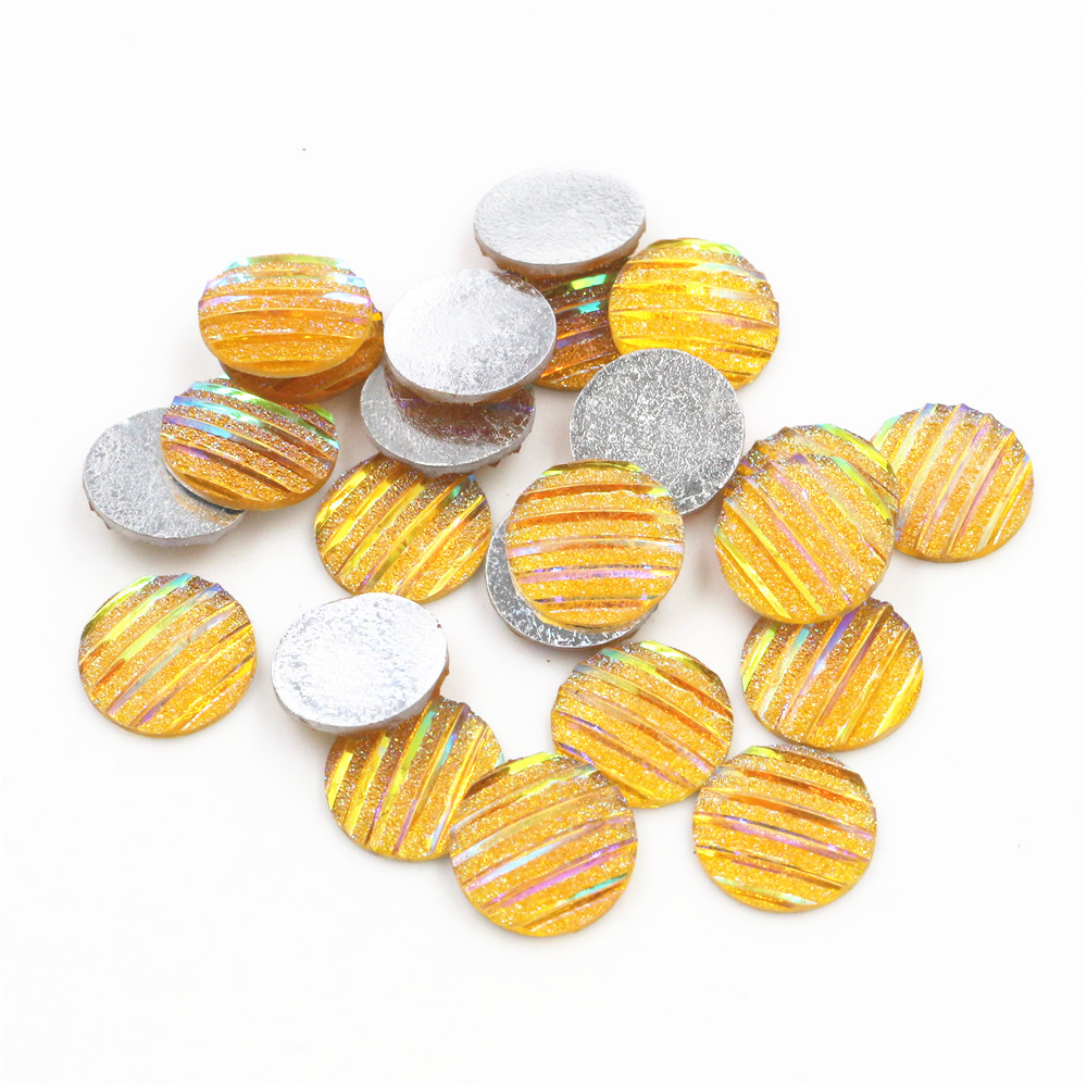 New Fashion 40pcs 12mm Yellow AB Scrub Stripe Horizontal Line Flat Back Resin Cabochon For Bracelet Earrings Accessories