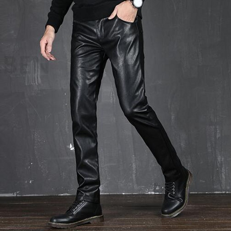 Motorcycle Full Length Mens Solid PU Leather Pants Autumn Casual Thin Slim Fit Male Straight Trousers Faux Leather Work Wear