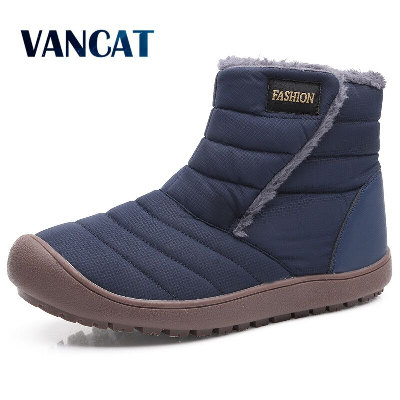 2019 New Winter Waterproof Snow Boots Warm Fur Plush Men's Boots Non-slip Unisex Ankle Boots Men Winter Shoes Big Size 36-46