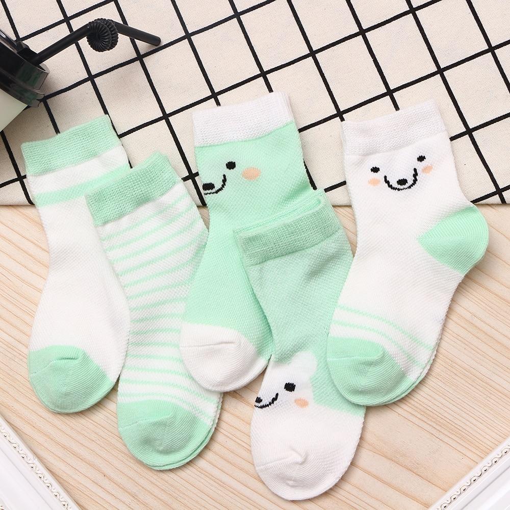 5Pairs/lot 2-9Y Baby Socks Summer Cotton Color Aminal Bear Kids Socks Colorful Girls Mesh Cute Newborn Boys Toddler Socks Baby 6