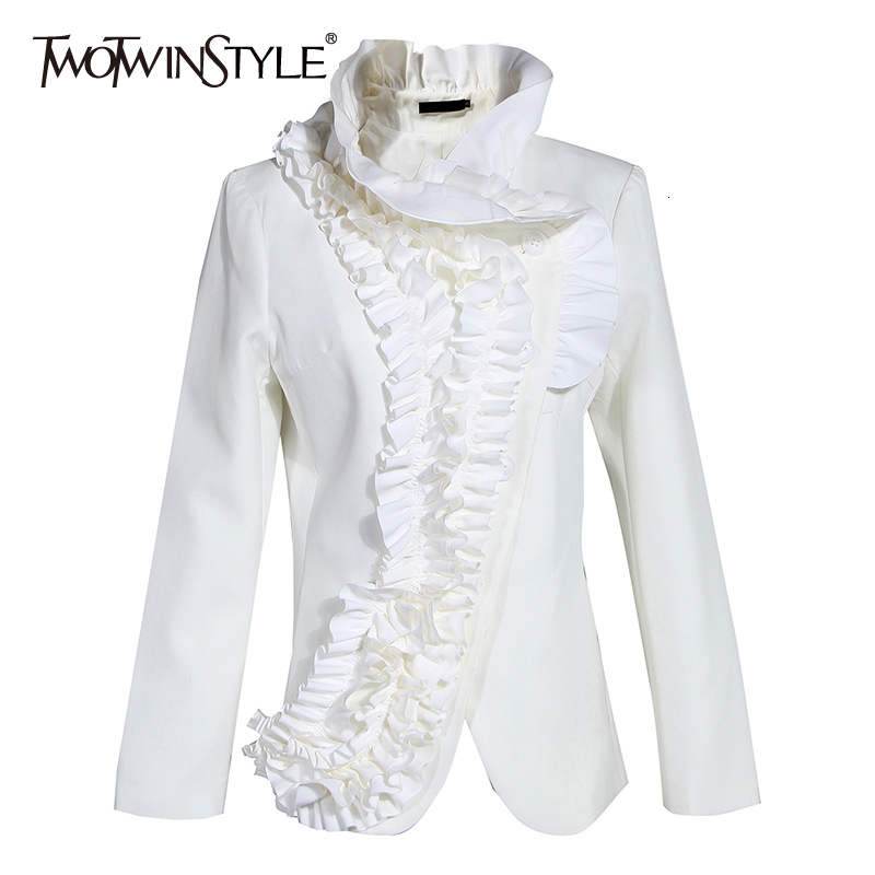 TWOTWINSTYLE Elegant Asymmetrical Ruffles Women's Coat Stand Collar Long Sleeve Slim Jacket For Female Fashion 2020 Clothes Tide