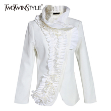 TWOTWINSTYLE Elegant Asymmetrical Ruffles Women's Coat Stand Collar Long Sleeve Slim Jacket
