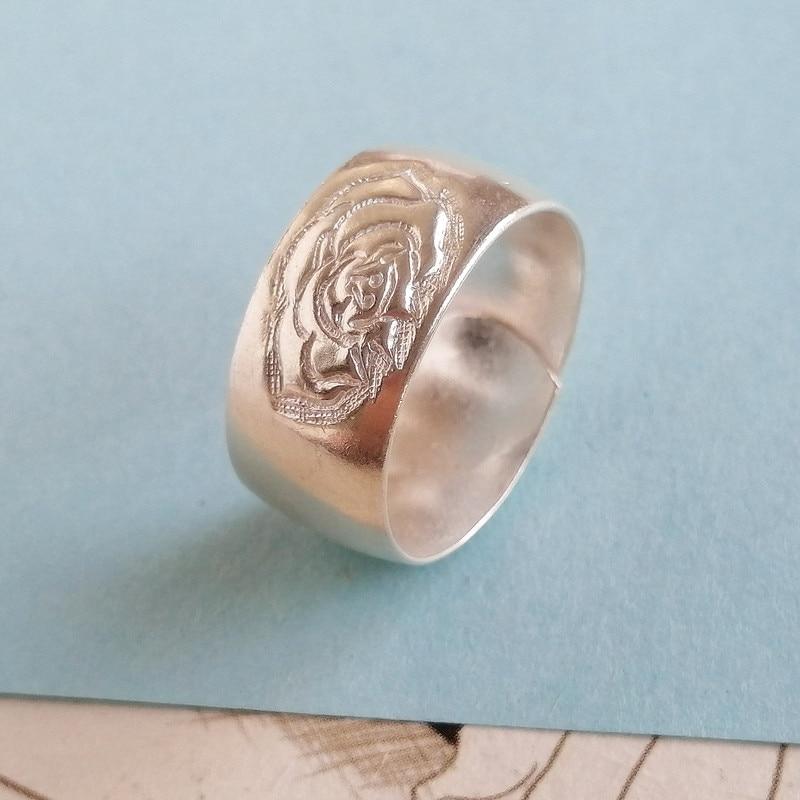 Pivoine fleur 999 en argent Sterling anneaux pour les femmes fiançailles initiale bague de mariage doigt réglable luxe bijoux à la main