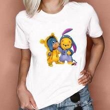 Пижамная одежда с принтом Винни-Пуха, осла, айяра, Женская свободная футболка с коротким рукавом и круглым вырезом, летняя футболка для дево...