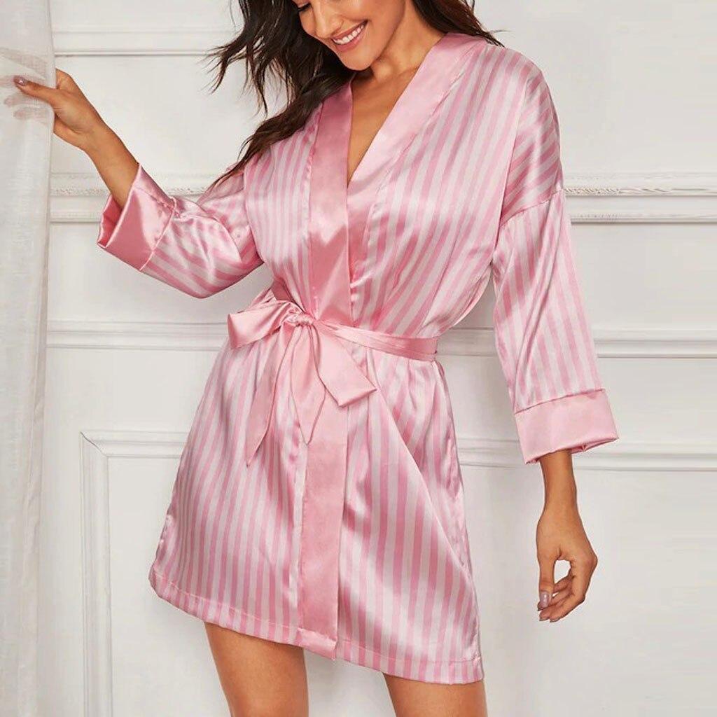 Plus Size Women Short Satin Bride Robe Sexy Lingerie Women Silk Stripe Robe Satin Bathrobe Sleepwear Summer Bridesmaid Nightwear