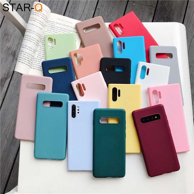 Permen Warna Silikon Phone Case untuk Samsung Galaxy Note 10 9 8 S10 S10e S9 S8 S20 Plus E Galaxi Matte Lembut TPU penutup Belakang Kasus
