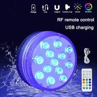 Al aire libre LED para piscina noche luz USB recargable impermeable RGB luz sumergible con copa de succión jardín lámpara subacuática
