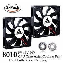 2 Pcs Gdstime DC 80MM 5V 12V 24V 2PIN 3PIN USB 80x80x10mm Dual Ball PC Bürstenlosen Fall Lüfter 8010 8CM Laptop CPU Kühler Fan