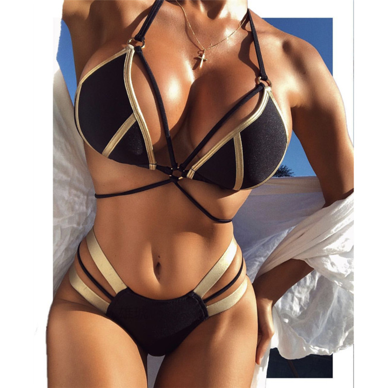 Brand New Bikini Set Bandage Women Swimwear Summer Push Up Padded Halter Swimsuit Beach Women Biquíni Bathing Suit Monokini