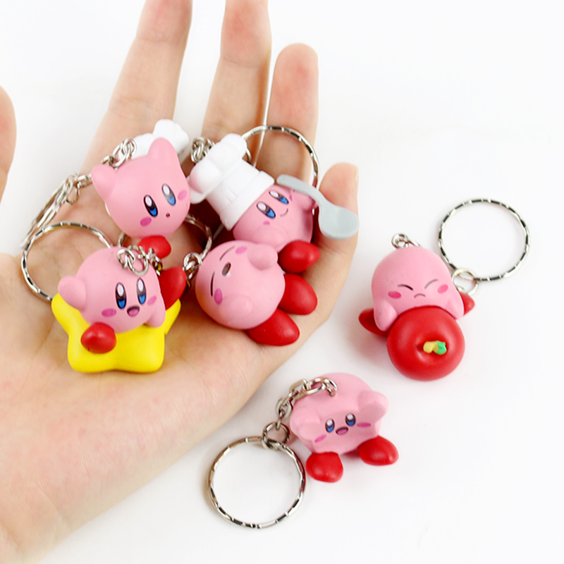 6pcs/set 4cm Kirby Popopo Mini PVC Figures Toys With Keychain Pendants
