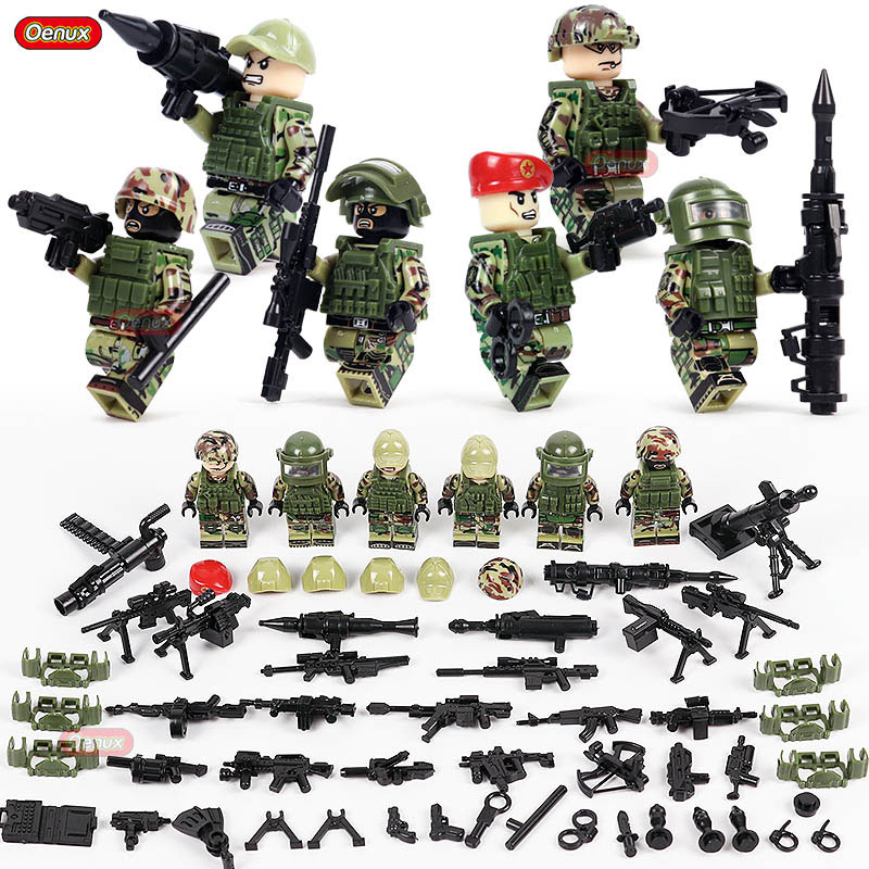 Oenux New Russian ALPHA Force Modern Military Figure Legoings Building Block Russian Special Force Army Brick Toy For Boys Gift