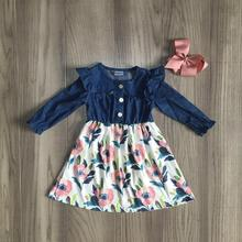 Fall/winter baby girls children clothes cotton dusty pink floral Denims ruffles dress boutique long sleeve knee length match bow