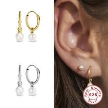 Aide INS mode perle goutte pendentif cerceau boucles d'oreilles pour femmes filles mariage boucles d'oreilles 925 en argent Sterling Simple bijoux Oorbellen