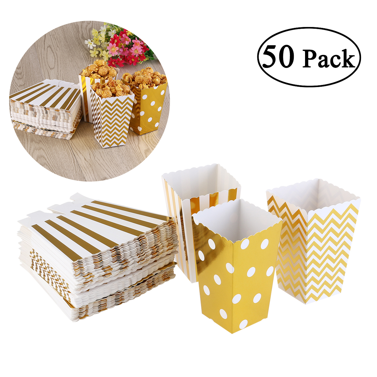50pcs/24pcs Mini Foil Gold Silver Candy Popcorn Boxes Snack Containers Kids Party Treat Bags Wedding Movie Decoration Supplies