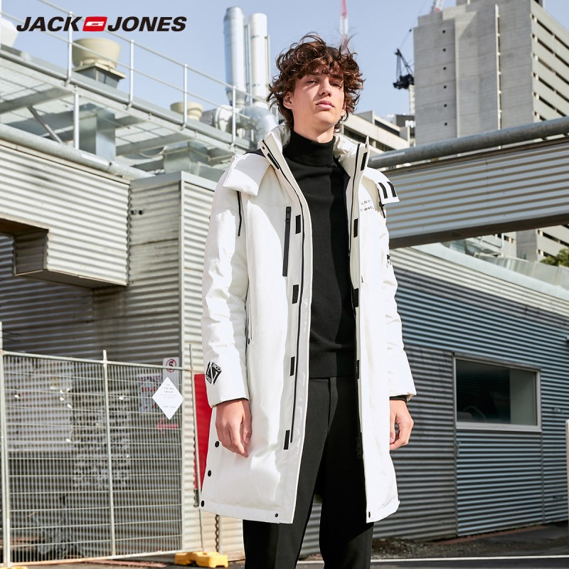JackJones Winter Men's Hooded Stand Collar Long Style Down Jacket White Duck Down Parka Coat 219312512