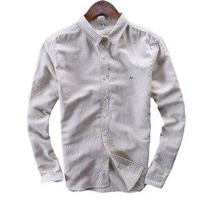 Мужские дышащие рубашки с длинным рукавом из 100% чистого льна, весна-лето 2020