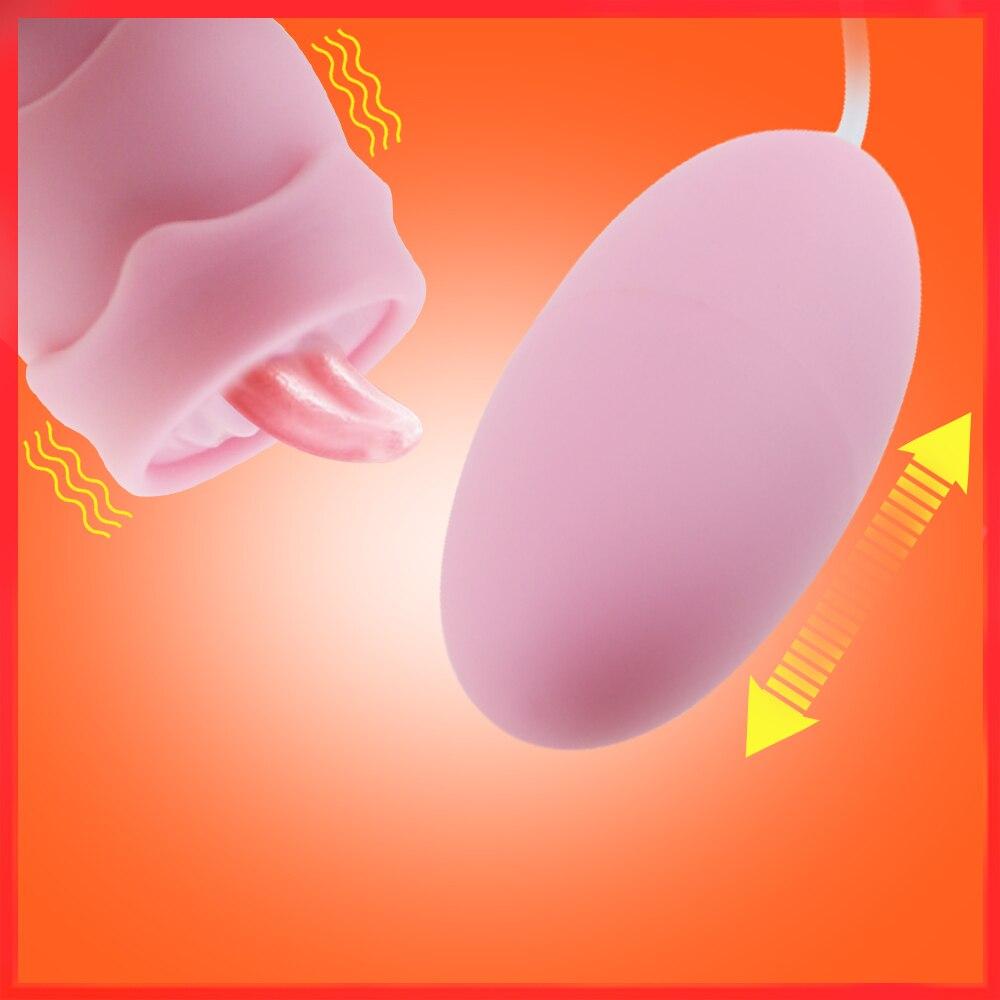 Mini 10 Speed Licking Tongue Vibrating Eggs Silicone Vaginal Tight Stimulation Vibrator Exerciser Kegel Balls Sex Toys For Women