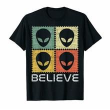 Believe Vintage Alien Head Face Unisex puesta de sol negro camiseta S-3Xl Harajuku Tops moda clásica camiseta