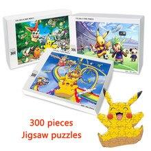 Pokemonnom-rompecabezas de madera para niños y adultos, 300 piezas, Pikachu, figuras Kawaii, juegos de rompecabezas personalizados, juguetes educativos