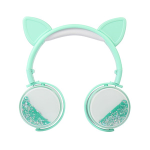 Image 2 - New Cat Ear Wired Headphones Hourglass Glitter Style Women Girl Music Gaming Headset For Mobile Phone Computer PC 3.5mm Jack