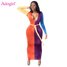 Adogirl Color Block Maxi Dress 2019 Autumn New Women Sexy V Neck Long Sleeve Bodycon Club Party Dresses Casual Outfits