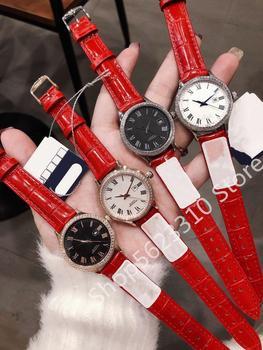 Famosa marca de reloj de cuarzo zafiro fecha reloj de cuero genuino de las mujeres reloj de pulsera Número romano calendario Dial relojes 32mm