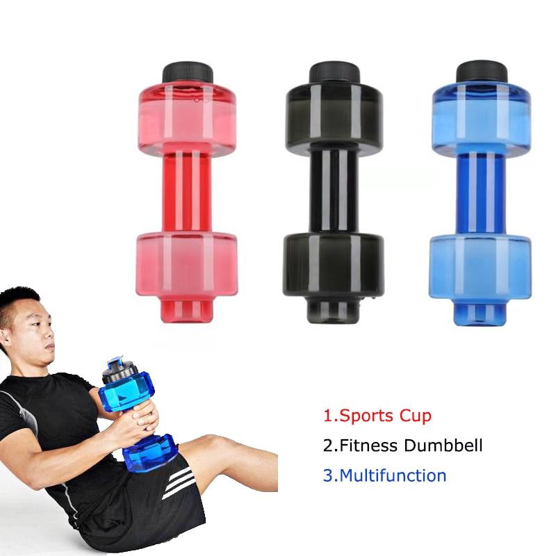 3 Colors Sports Water Bottles 550ml Leakproof Portable Unbreakable My Sports Plastic Bottle Shaker BPA Fitness Dumbbell Unisex