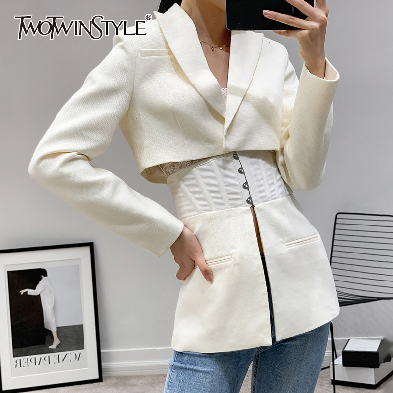 TWOTWINSTYLE Patchwork White Women's coats Lapel Collar Long Sleeve Tunic jackets For Female Autumn 2020 Fashion Clothing Tide 1