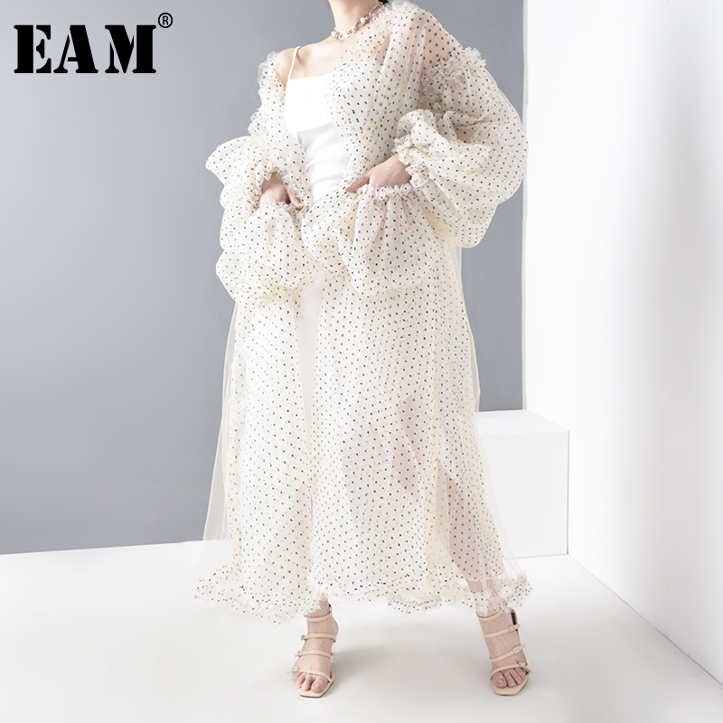 [EAM] Women Beige Dot Printed Mesh Perspective Big Size Blouse New Long Sleeve Loose Fit Shirt Fashion Spring Summer 2020 WE923