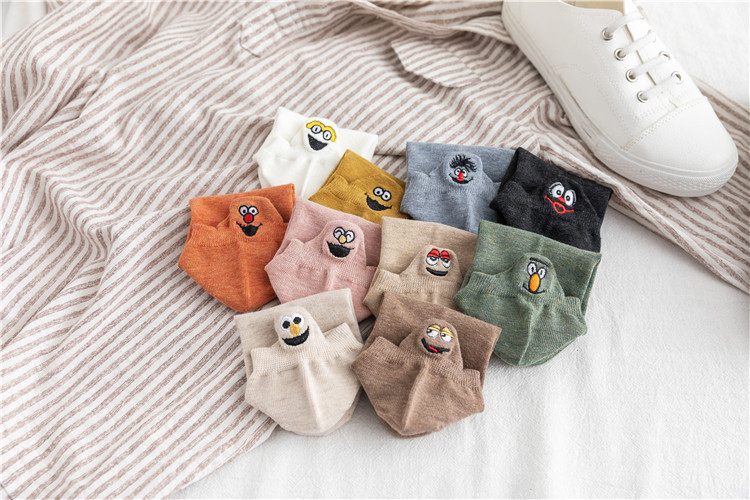 5 Pairs Embroidered Expression Women Socks Happy Fashion Ankle Funny Socks Women Cotton Summer Candy Color