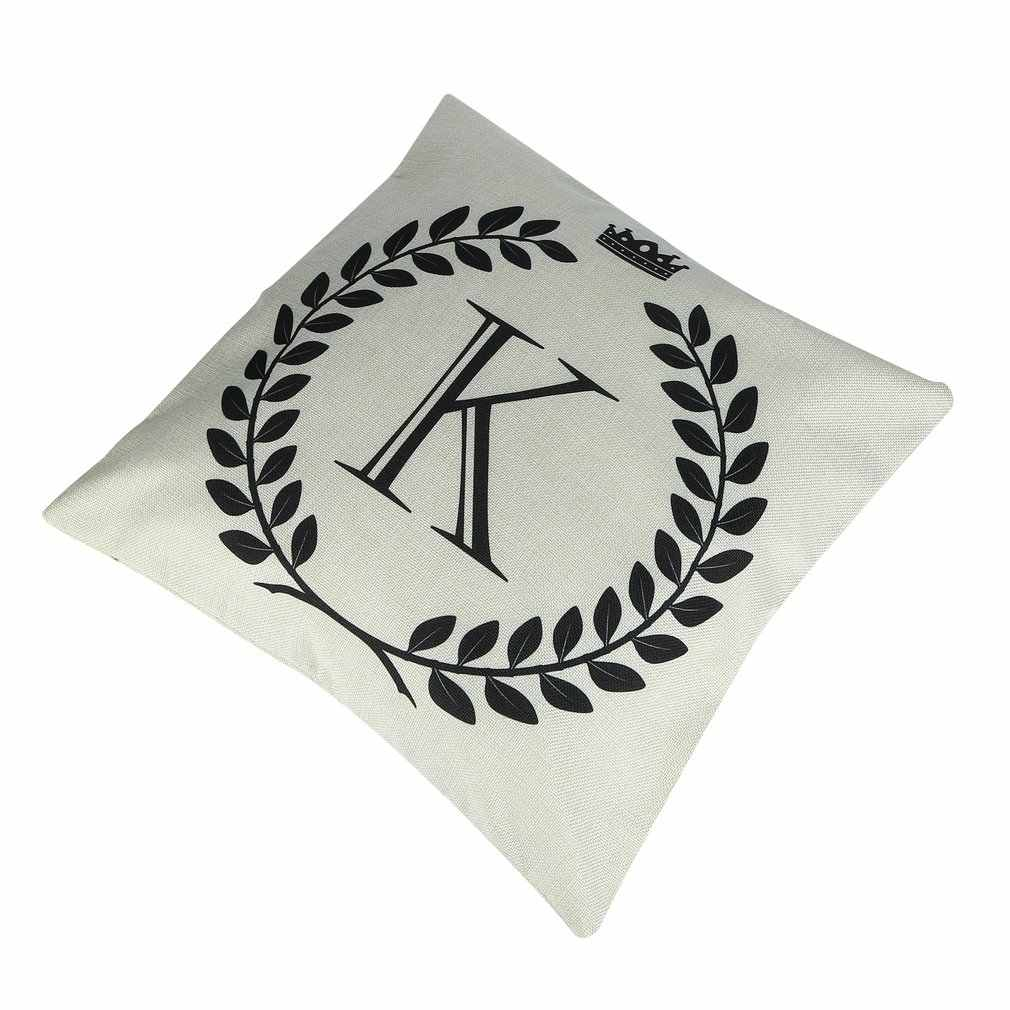 45*45cm korona list ze wzorem alfabetu bawełniana lniana poszewka na poduszkę poszewka dekoracyjna krzesło poszewka na poduszkę ozdoba sofy