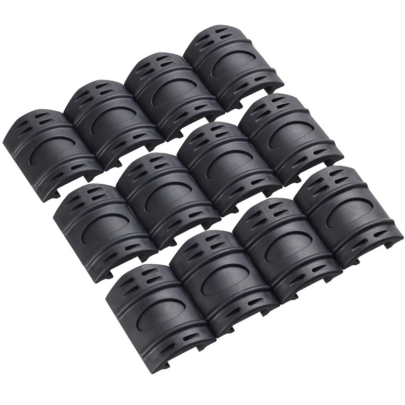 Funpowerland 12pcs/PACK Tactical W/ Picatinny Rubber Handguard Quad Rail Protect Covers Black Airsoft