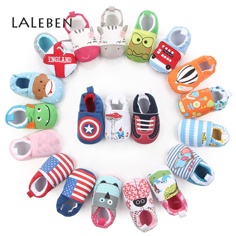 Unisex Kids First Walkers Soft Non-slip Cotton Fabric Toddler Shoes Spring And Autumn Cartoon Fashion Head Infant Baby Footwear