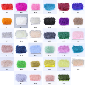 34 Color 1 Meter Fluffy Ostrich Feather Edge Trim Size 6-8 cm Feathers Used To Decorate Wedding And Christmas Accessories Plumes wholasale elegant black ostrich feathers for crafts 15 70cm 6 28inch wedding party supplies carnival dancer decoration plumes