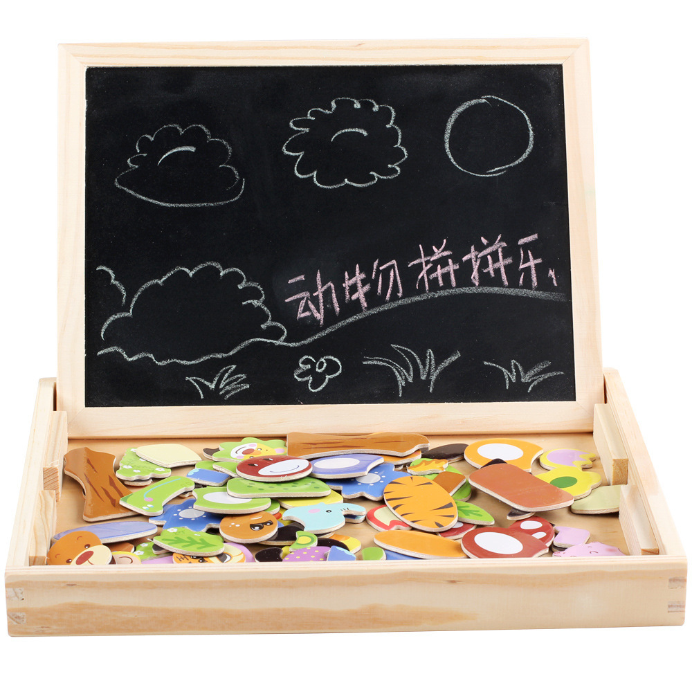 Children Animal Magnetic Joypin Wooden Toys Double-Sided Sketchpad Educational Early Childhood Building Blocks Jigsaw Puzzle