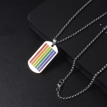 Wukaka Fashion Rainbow Gay Pride LGBT Necklace Windmill Square Girl Boy Symbol Stainless Steel Necklaces Men Jewelry 7