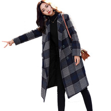 New English Style Plaid Woolen Coat Women Autumn and Winter 2019 Fashion Turn-down Collar Loose Wool Blends Outerwear