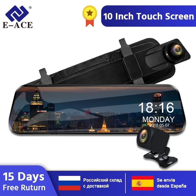 E-ACE 10 дюймовый сенсорный автомобильный видеорегистратор Потоковое вещание зеркало заднего вида приборная Камера FHD 1080 P видео Регистраторы ...