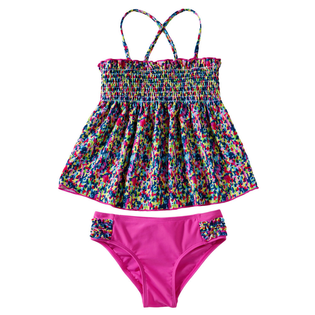 Pa Meng Europe And America New Products CHILDREN'S Bikini Printed Cross Suspender Strap Triangular Split Type Swimwear TZ410006