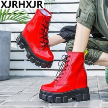 NEW Women Ankle Boots 2019 Autumn Patent Leather High Top Sneakers