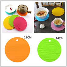 Kitchen Gadgets Tools 14 Cm/18 Cm Silicone Mat Heat Resistant Cup Mat Coasters Round Non-slip Table Placemat Kitchen Accessories silicone drain mat water coaster placemat table mat kitchen tool heat resistant non slip tray home kitchen dishwashing drain mat